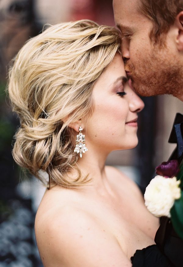 Stunning down 'do, flawless makeup, statement earrings // Ashley Cox Photography