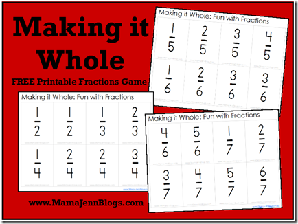 Sweet image with regard to printable fractions games