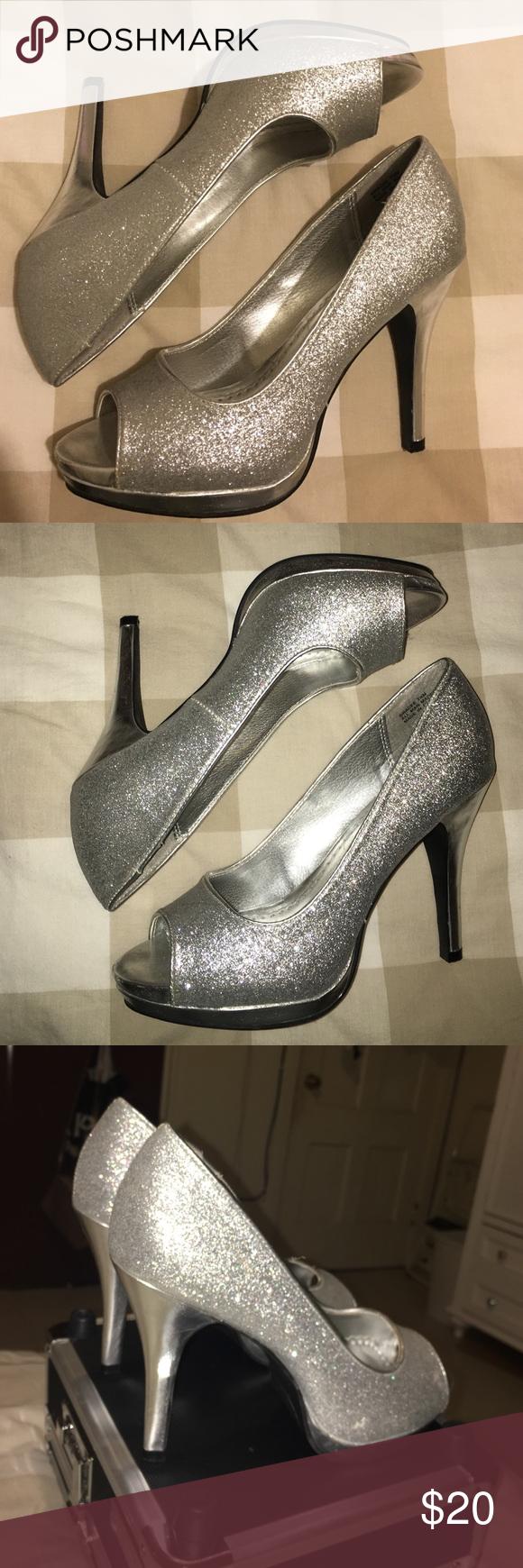 Glitter Heels -- Good condition Glitter heels -- Worn a few times, good condition! Rampage Shoes Heels
