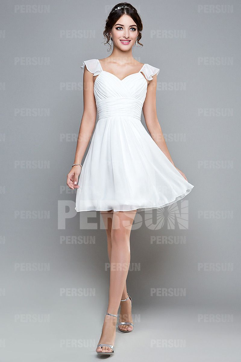 Gorgeous aline sweetheart cap sleeve chiffon knee length bridesmaid