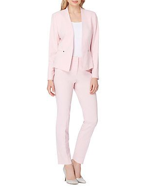 Tahari Arthur S Levine Two Piece Collarless Jacket And Pant Suit