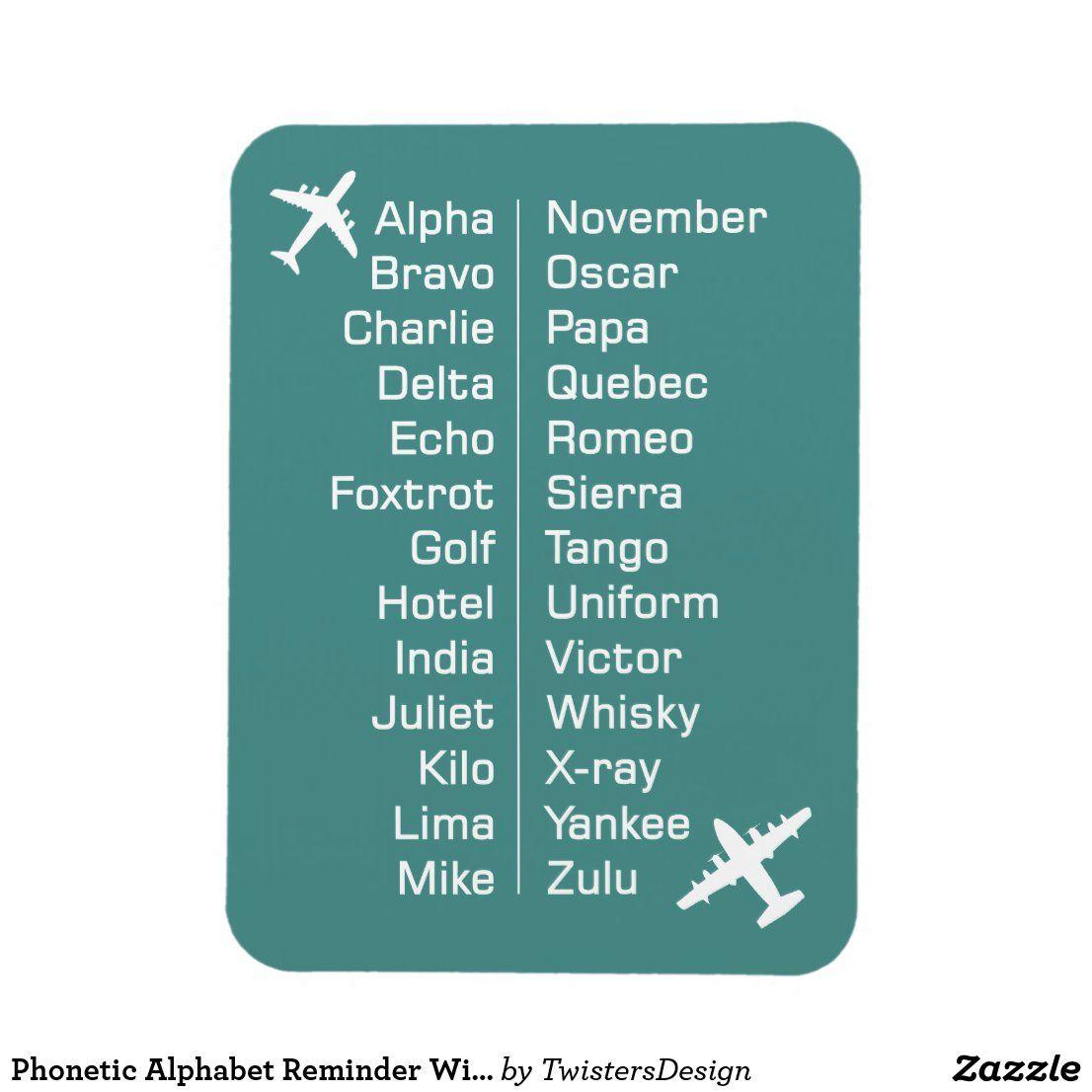 Phonetic Alphabet Reminder With Aeroplanes Magnet Zazzle Com Phonetic Alphabet Reminder Alphabet