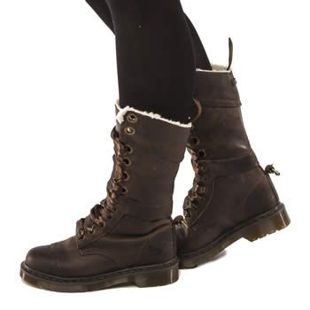 Womens Dark Brown Dr Martens Triumph Shearling Boots | schuh