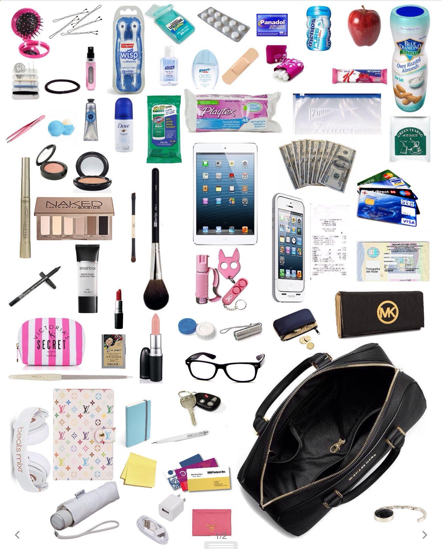 Purse must haves! Backpack essentials, Handbags online