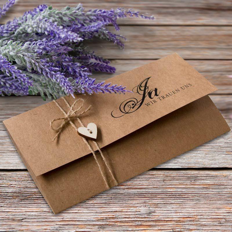 Einladungskarte Hochzeit Kraftkarton mit Herz | Topseller