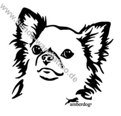 Chihuahua Langhaar Wandtattoo Kopf Wandsticker Deko Wandbild Wanddesign Wandgestaltung Tattoo Hunde Wandtattoo Dog Drawing Dog Quilts Chihuahua Tattoo