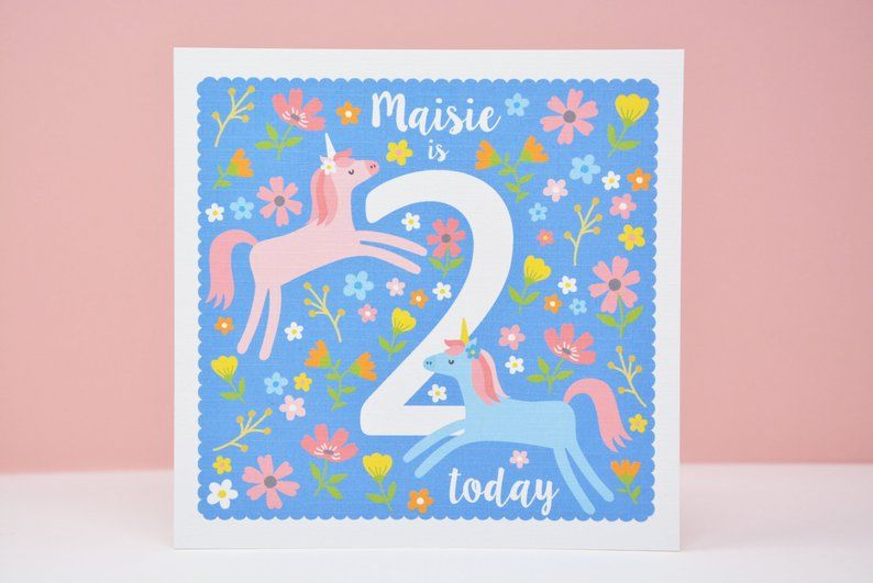 2nd Birthday Card Unicorn 2nd Birthday Card Personalised Age Etsy Birthday Cards 2nd Birthday Personal Cards