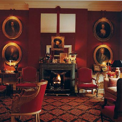 David Hicks...red salon | English decor, Decor, Classic ...