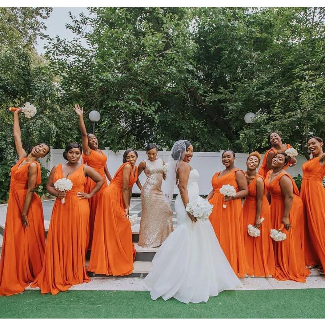Inspiring Black Bride Beauty Azettadesignstudio On Instagram Repost From Orange Dress Wedding Wedding Bridesmaids Dresses Blue Orange Bridesmaid Dresses