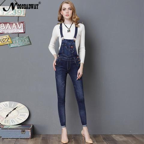 d12379b8b05 New denim overalls jeans women jumpsuits long casual coveralls 2018 autumn  slim skinny pencil pants combine trousers female body