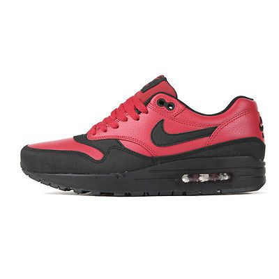 Nike Air Max 1 Leather Premium Mens 705282 600 Red Black