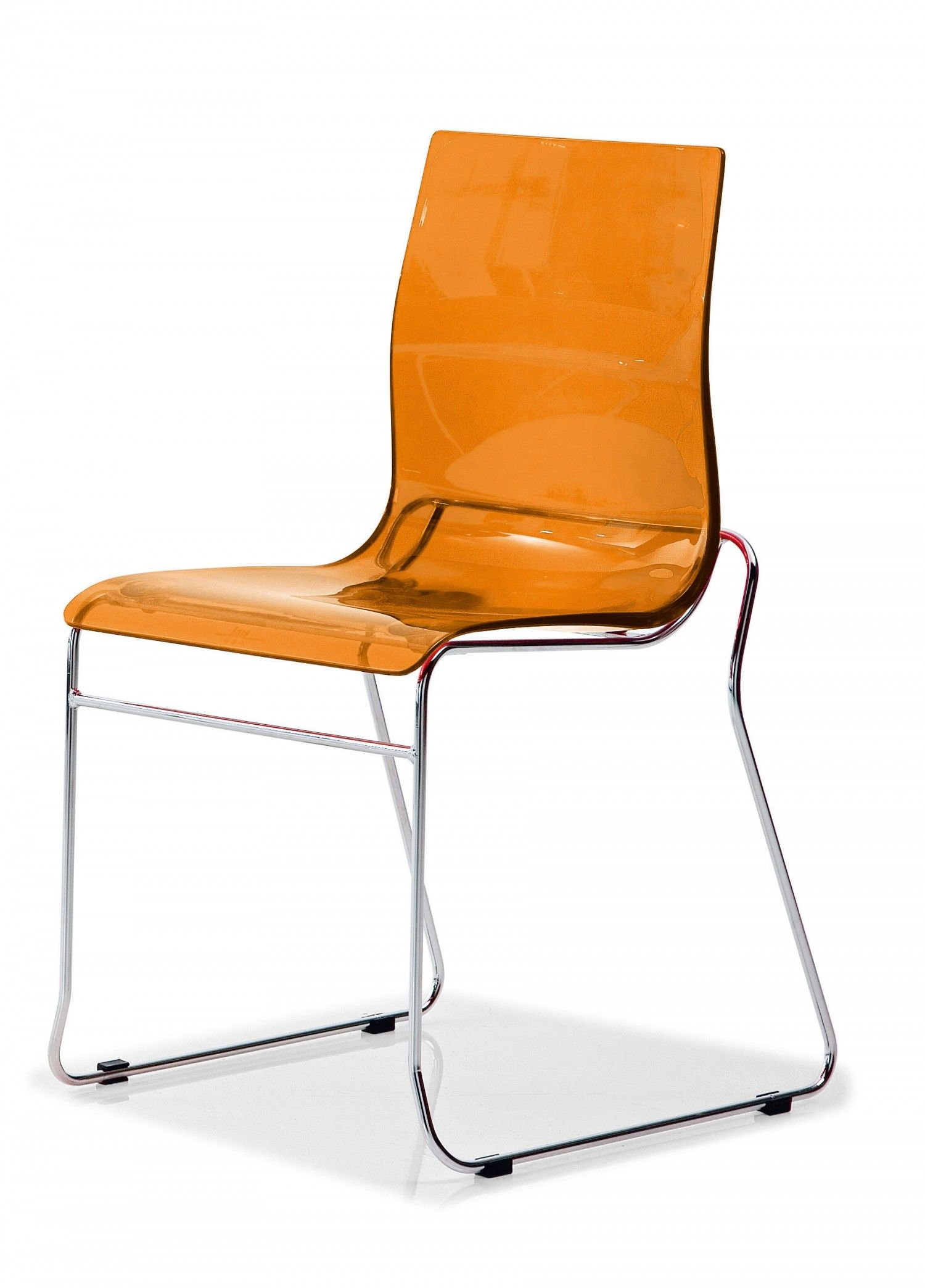 Domitalia Gel T Dining Chair In Transparent Orange Stackable Dining Chairs Contemporary Dining Chairs Dining Chairs
