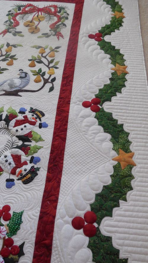 Baltimore Christmas Album Quilt Curved Cross Hatching