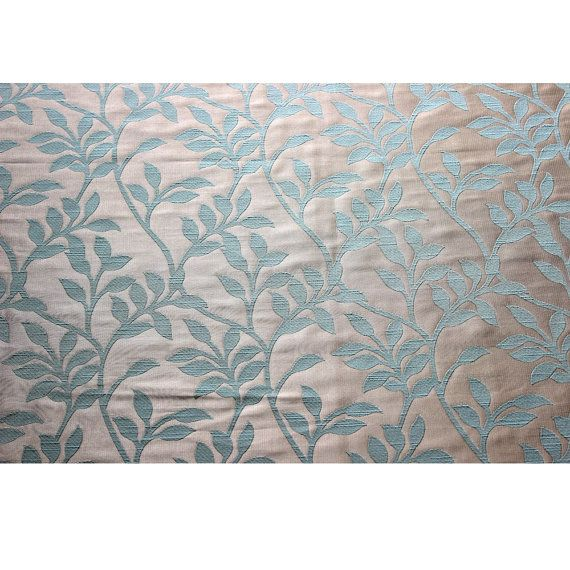 Light Turquoise Green Leaves Curtain Fabric by FabricMart on Etsy ...