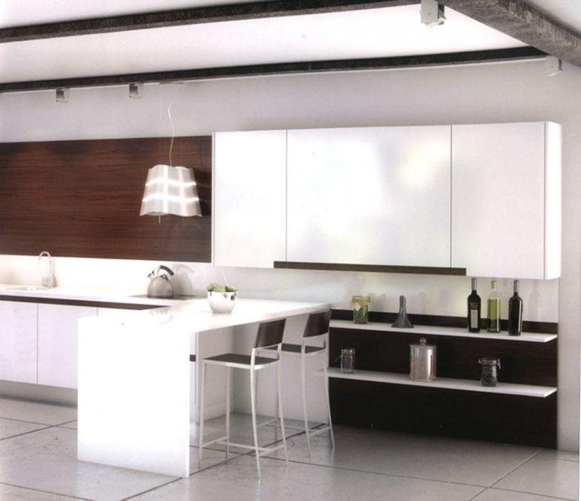 Cocina #moderna de color blanco y tiradores en nogal. #mueblesarria ...