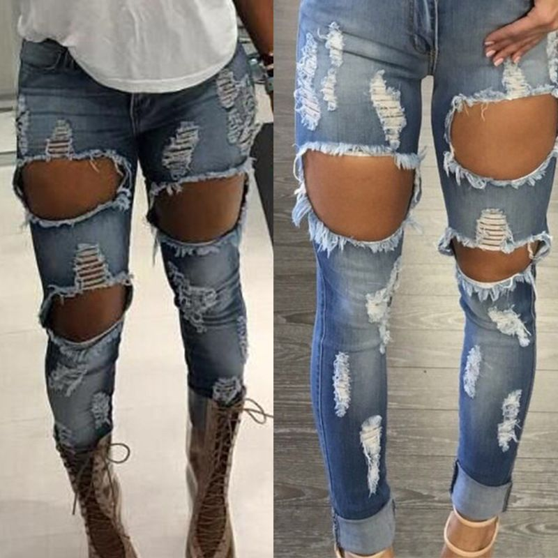 deb36b4e1bb 2017 Summer Women s Jeans Zipper Big Hole Sexy Jeans Women Slim Jeans Pants  Ripped High Waist Pencil Pants Femme Plus Size XXL