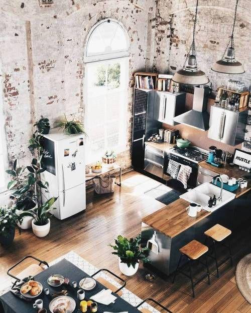 Küchen Inspiration für offenen Wohnküche mit Holzfussboden und