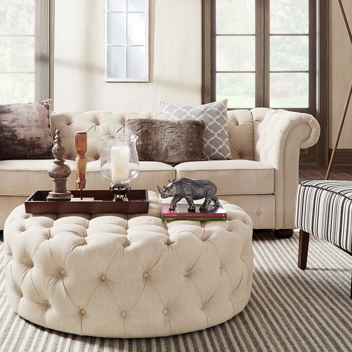 Everett Tufted Leather Settee In 2019: Knightsbridge Beige Fabric Button Tufted Chesterfield Sofa