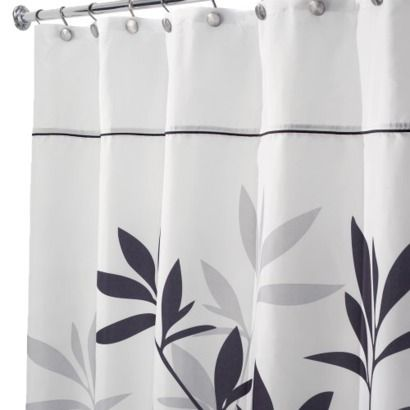 Extra Long Interdesign Leaves Extra Long Shower Curtain Black