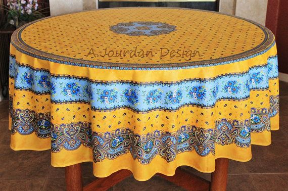 This French Provence Tradition Yellow Round Acrylic Coated Stain Proof  Tablecloth Was Designed Based On The