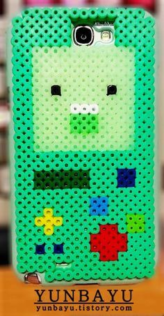 BMO - Adventure Time  phone case perler beads (Samsung GALAXY Note 2) - Pattern: https://www.pinterest.com/pin/374291419011769816/