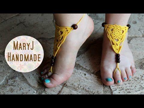 Cavigliera all'uncinetto | Crochet barefoot sandals - YouTube