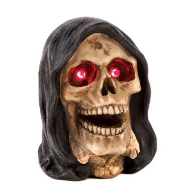 Lighted Grim Reaper Head Figurine Free Shipping + No Sales Tax