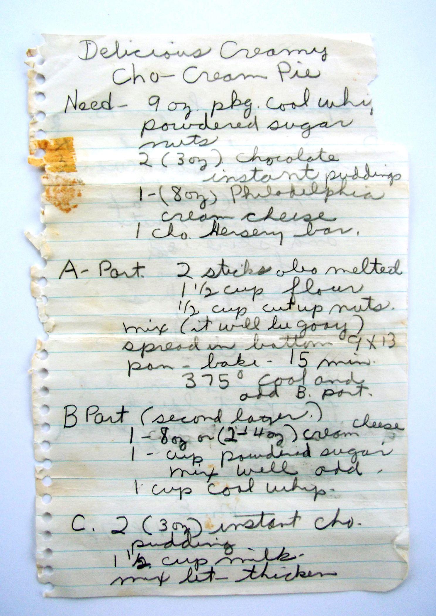 Vintage pie recipe