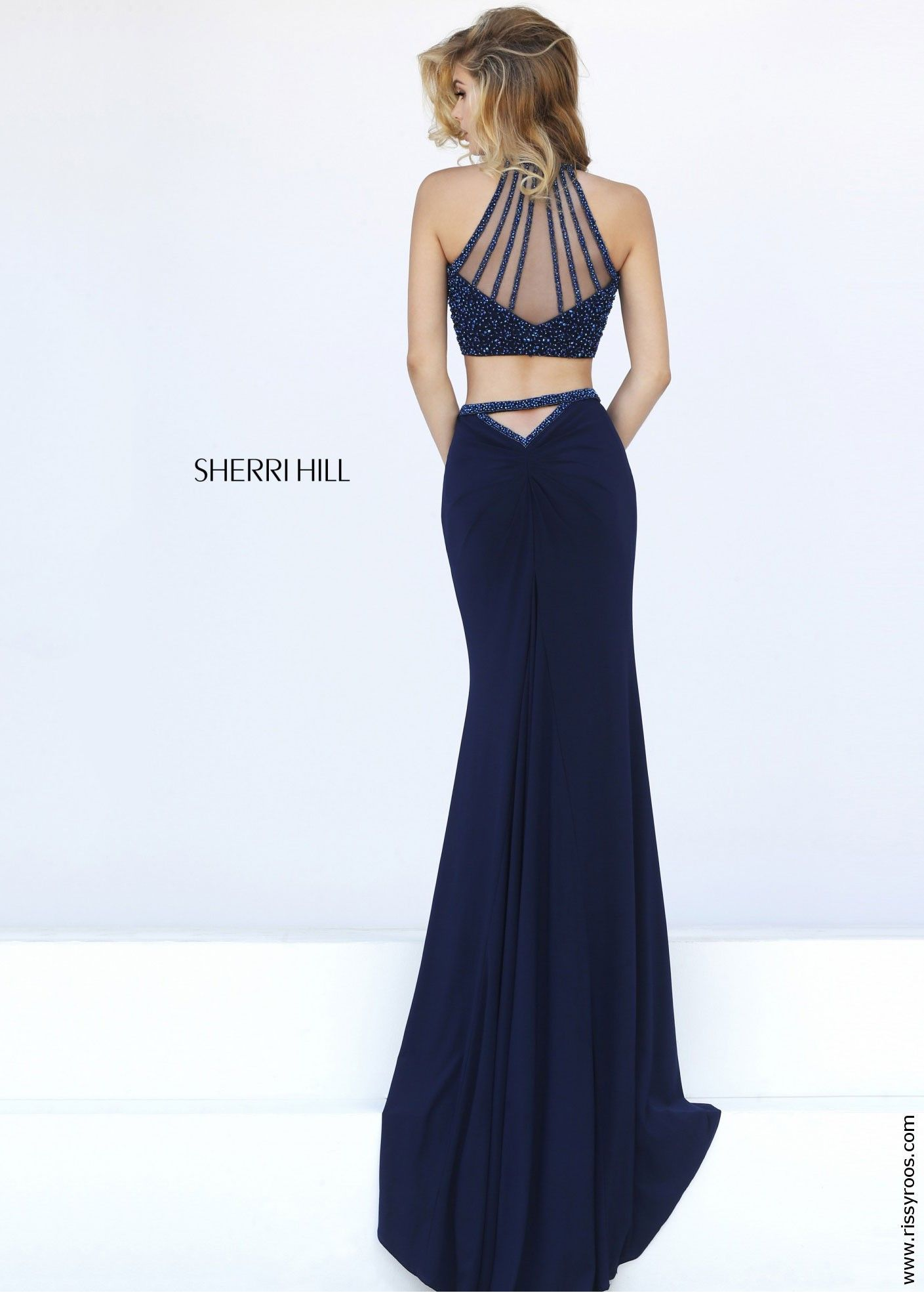 Sherri Hill 50062 Navy Fitted Jersey Two Piece Dress | 2016 Prom ...