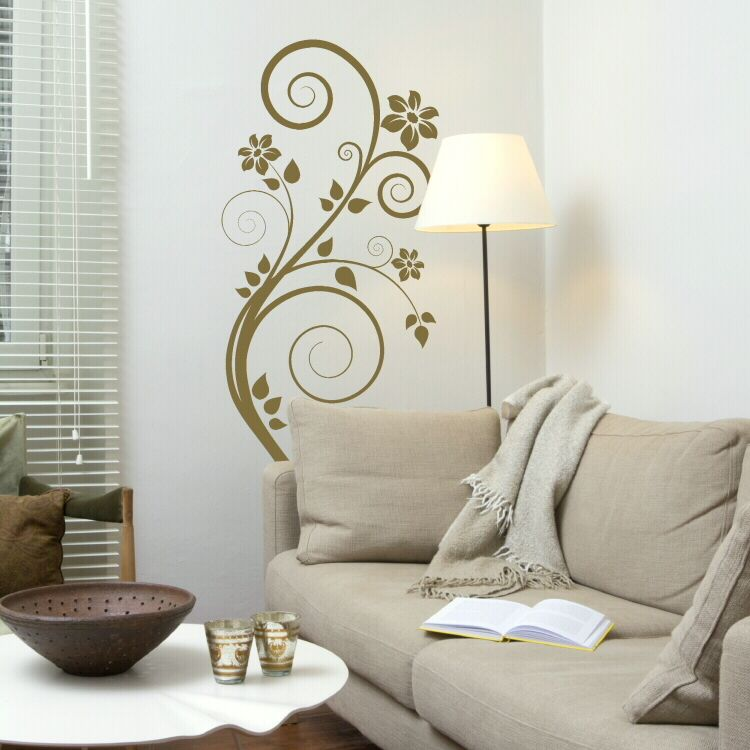 Painted swirl wall murals floral swirl flower wall sticker wall decal x17