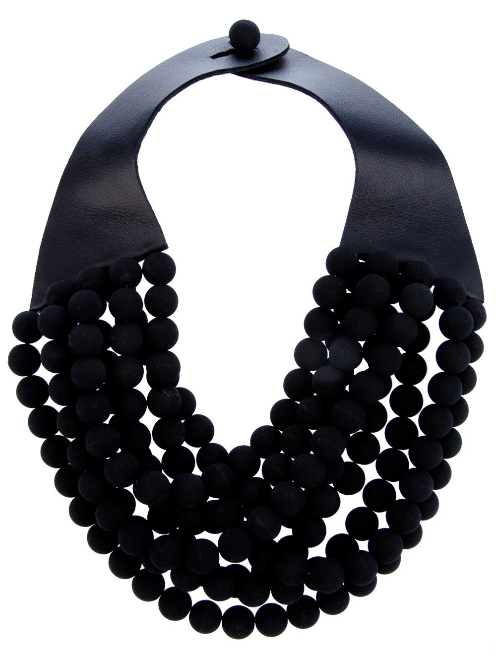 bicycle inner tube Necklace of rubber rounds with red beads K-11