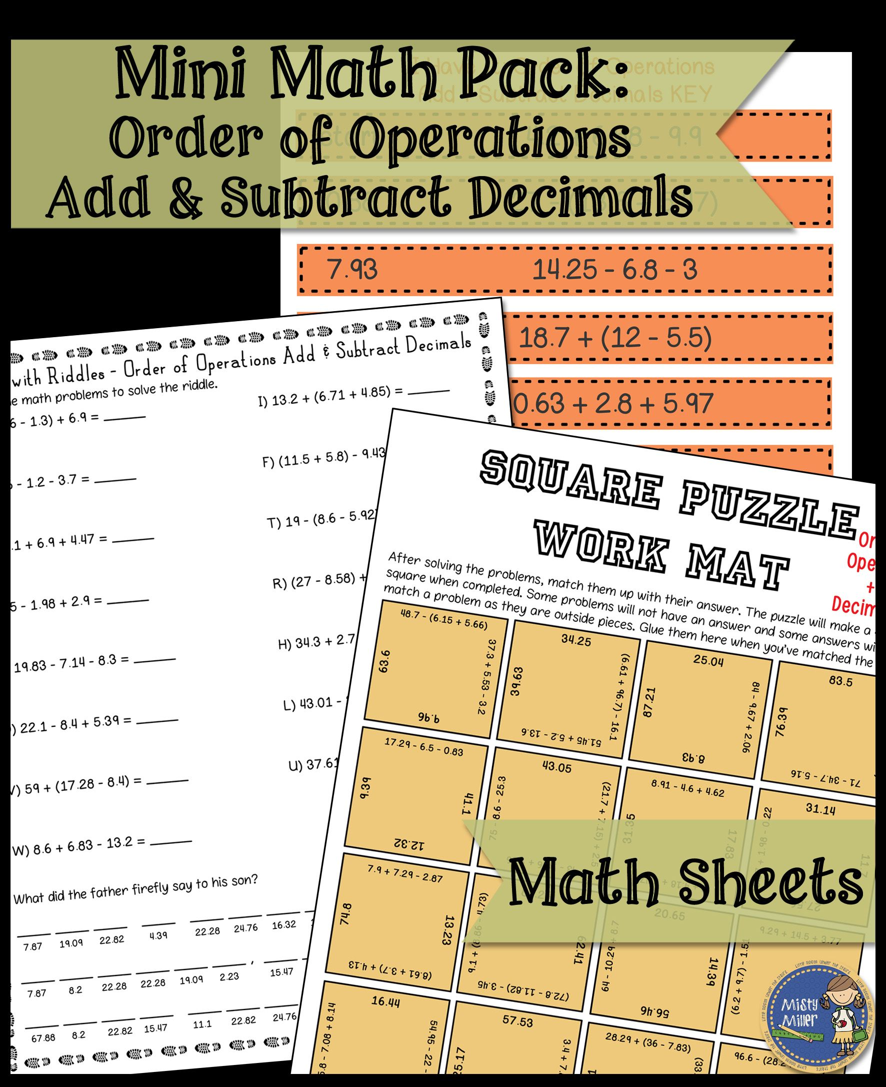 Order Of Operations Add Subtract Decimals Math Activities