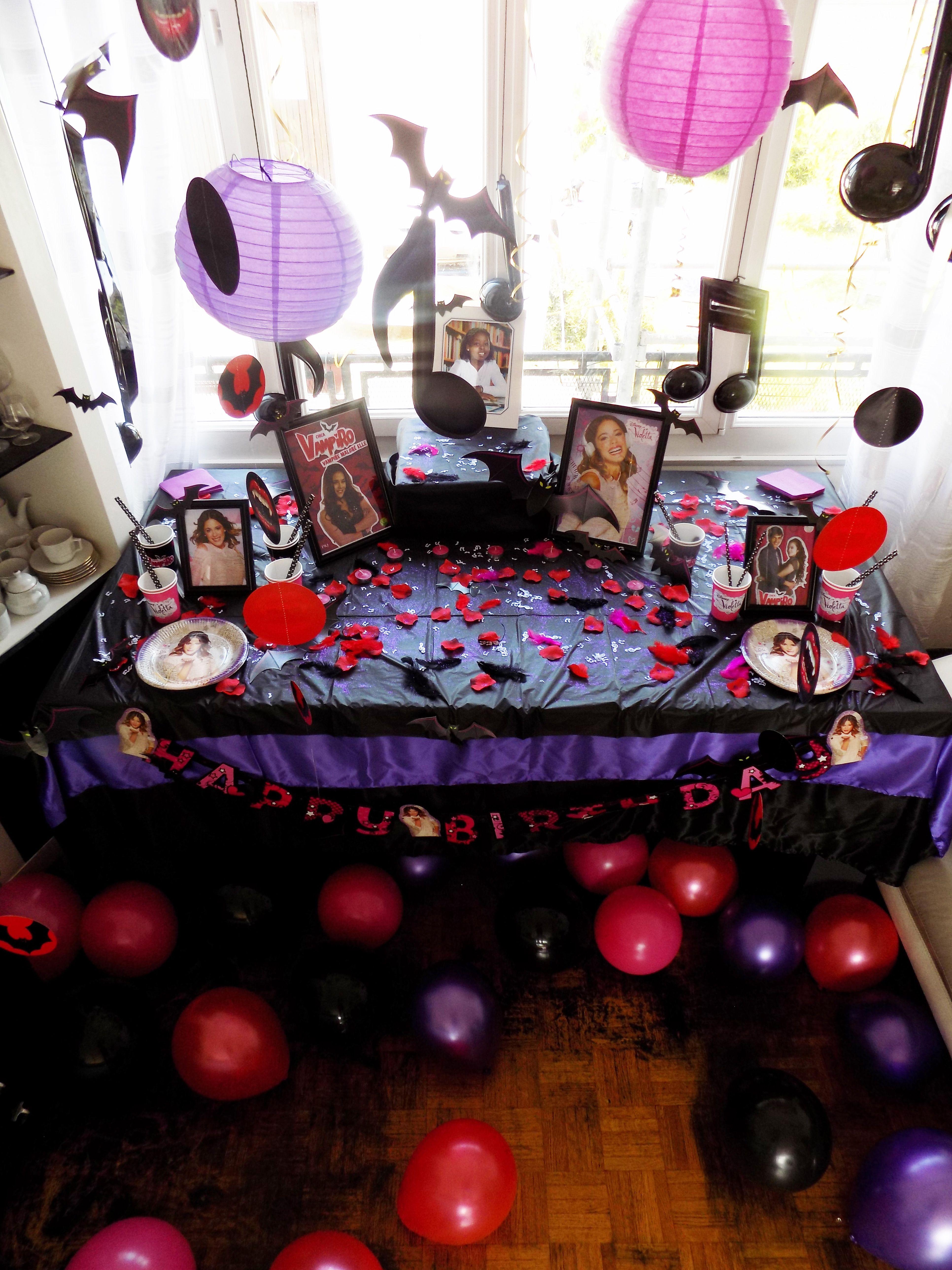 Décoration anniversaire thème Chica Vampiro vs Violetta avec KYOKO
