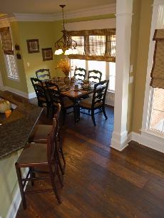 "Prefinished Handscraped ""Aged Bourbon"" wide plank flooring"