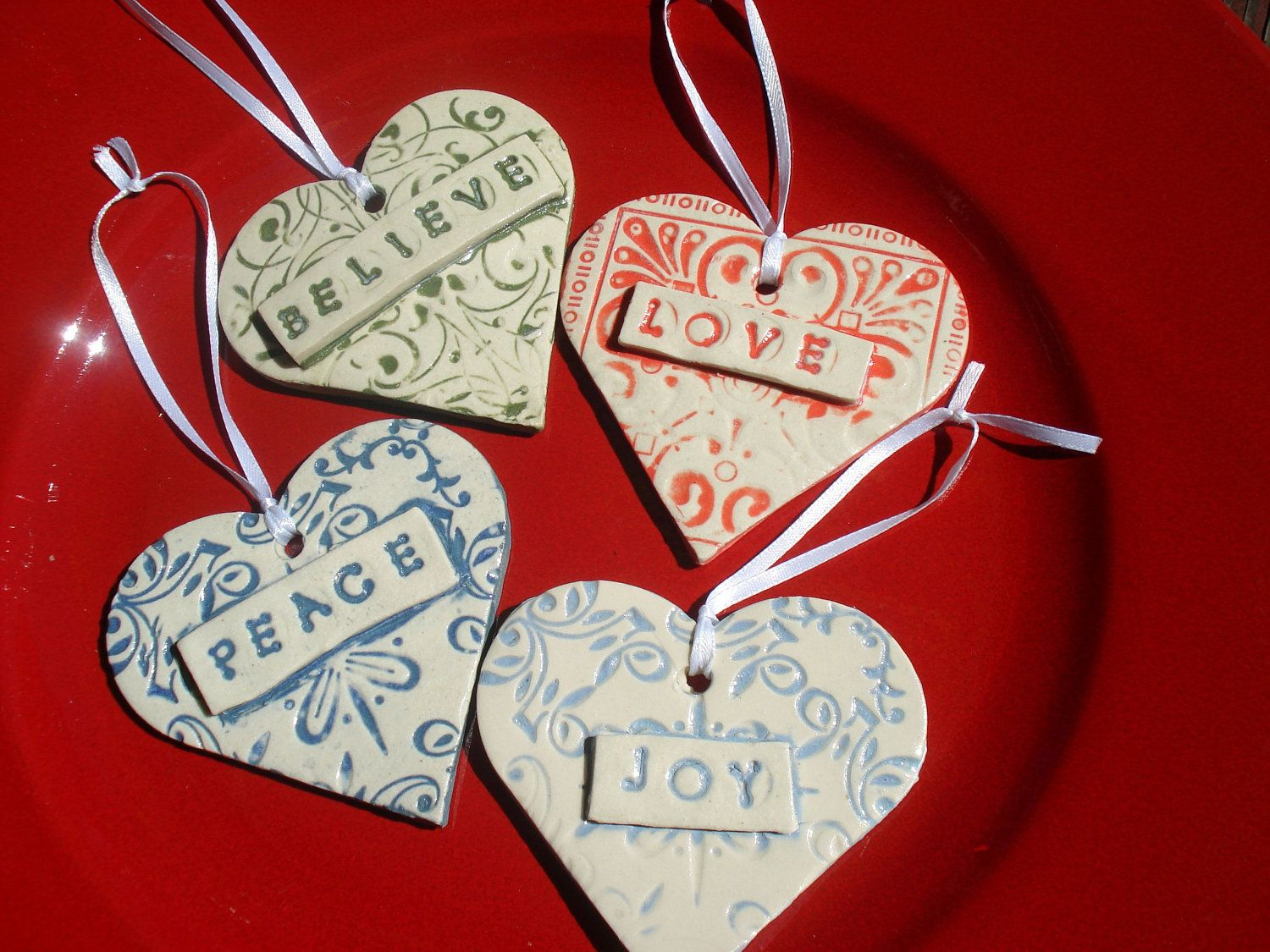 four ceramic heart christmas ornaments by magicmoonpottery. Black Bedroom Furniture Sets. Home Design Ideas