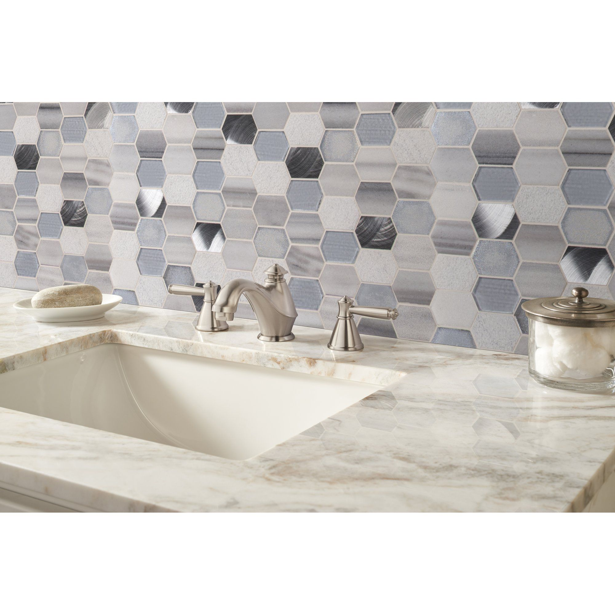 - 9-Harlow Picket Pattern Glass/Stone Mosaic Stone Mosaic Tile