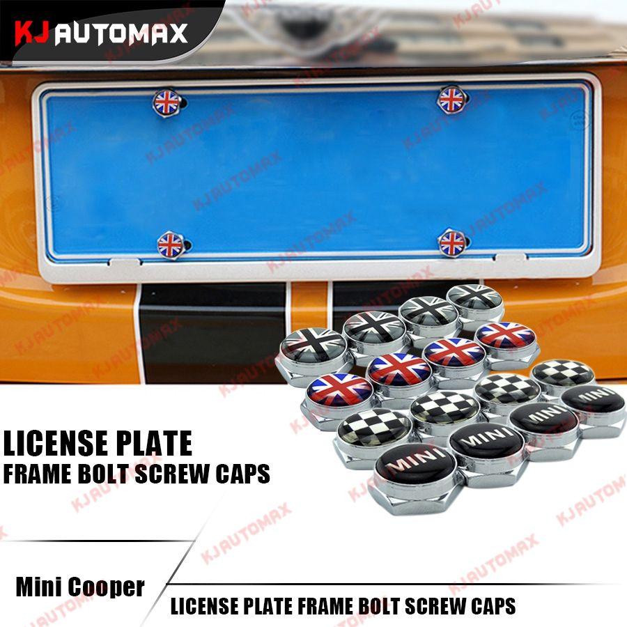 4pcsset for mini cooper accessories license plate frame bolt screw caps f55 f56 r55 - Mini Cooper License Plate Frame