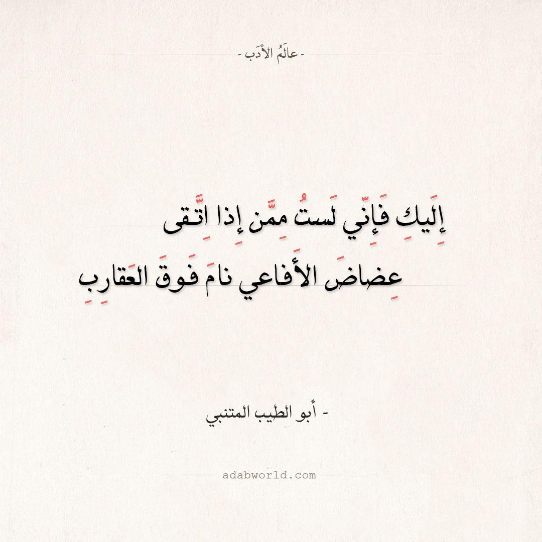 شعر المتنبي إليك فإني لست ممن إذا اتقى عالم الأدب Words Quotes Quran Quotes Quran Quotes Love