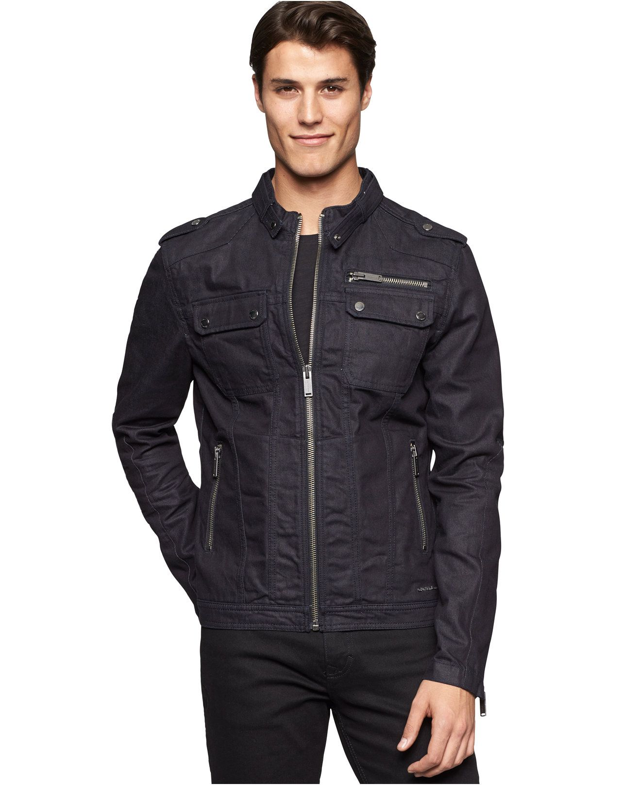 Calvin Klein Jeans Biker Jacket - Coats   Jackets - Men - Macy s ... 5dc8f952b7