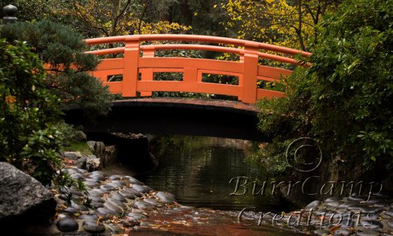 Nature Photography Orange Bridge  13x19 Inch by BurrCampCreations, $35.00
