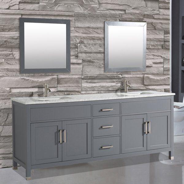 This Double Sink Modern Bathroom Vanity From Brayden Studio Is Made Out Of Solid Oak Double Sink Bathroom Vanity Bathroom Vanity Contemporary Bathroom Vanity