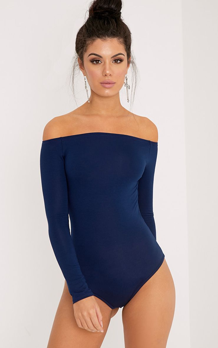 Ladies Off the Shoulder Womens Plain Slim Fit Bardot Leotard Bodysuit Top