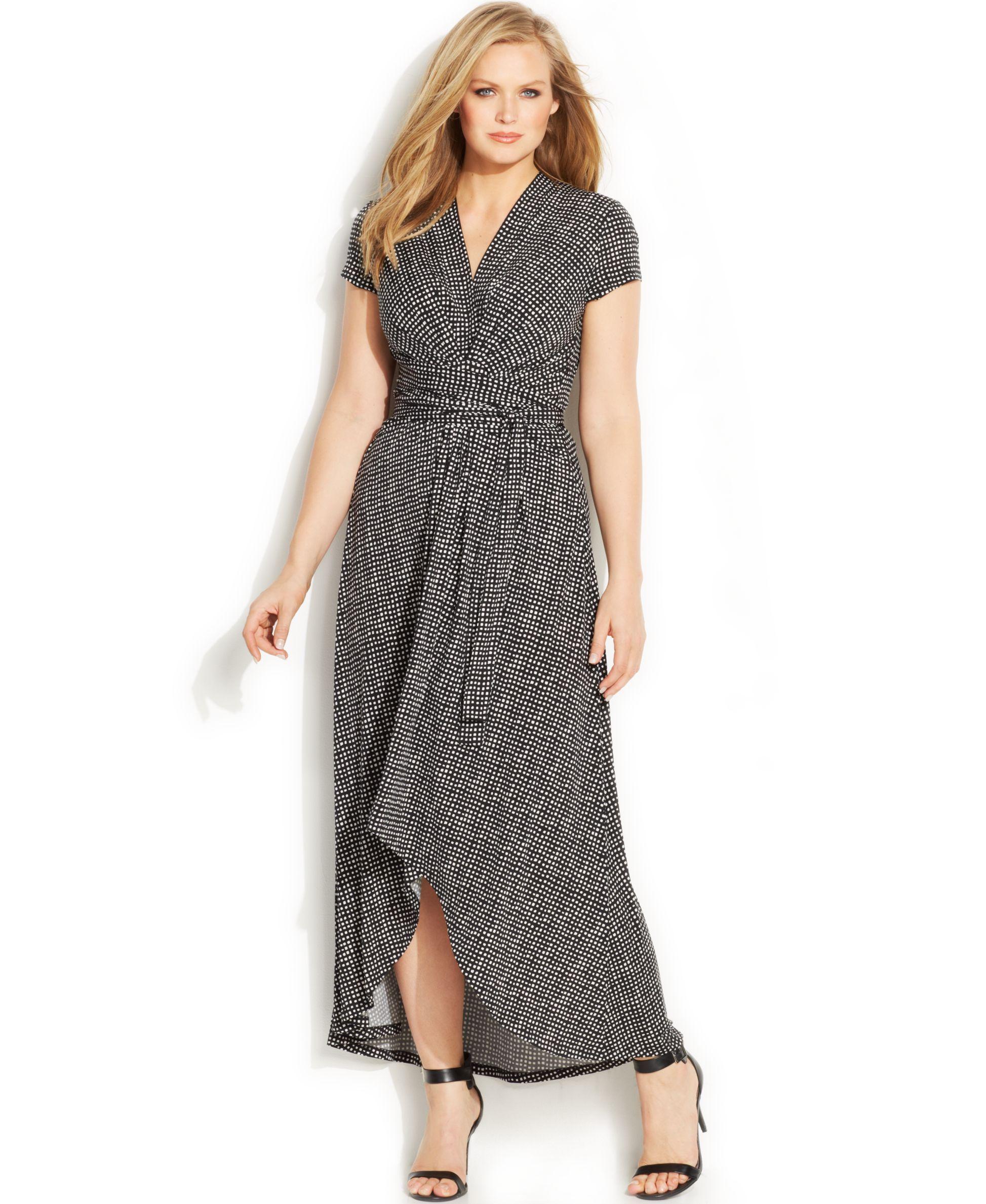 389b6d96520 Michael Michael Kors Plus Size Dot-Print Faux-Wrap Dress