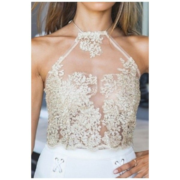 Women's Sexy Sheer Lace Crochet Sleeveless Halter Zip-Back Cami Tank (€19) ❤ liked on Polyvore featuring tops, crochet halter top, cami tank, halter tank top, sleeveless tank and camisole tops
