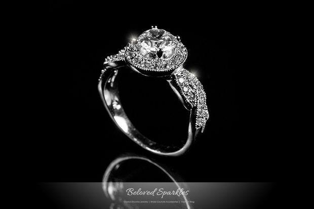 Sara Round Cut Halo Engagement Promise Ring | 1.8 Carat | Cubic Zirconia
