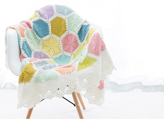 Lily Granny Blanket / Handmade Crocheted Afghan / Ice-cream Color ...