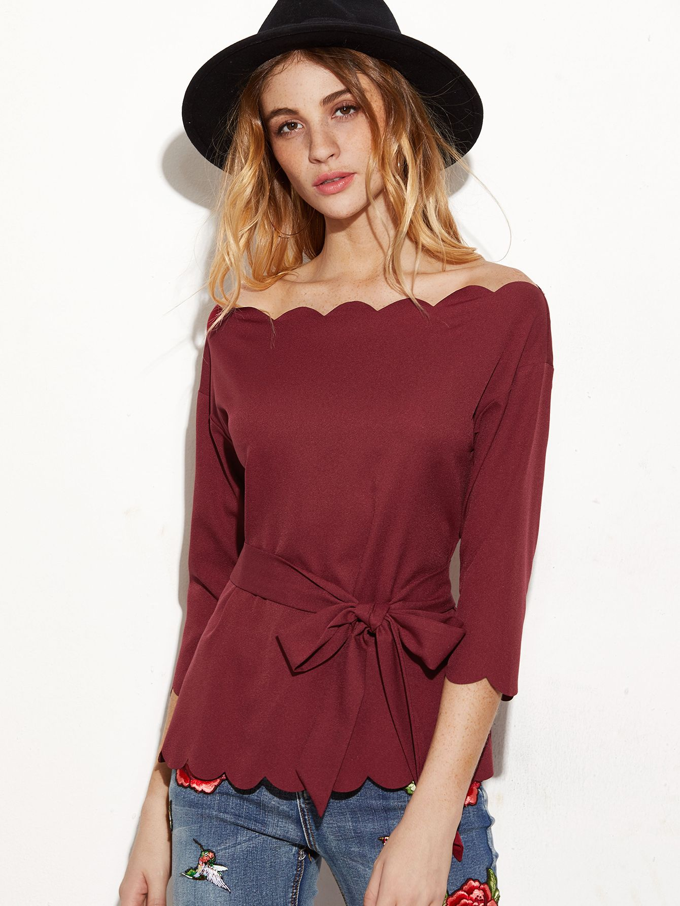 0125b9662663 Shop Burgundy Belted Scallop Off The Shoulder Top online. SheIn offers  Burgundy Belted Scallop Off The Shoulder Top   more to fit your fashionable  needs.