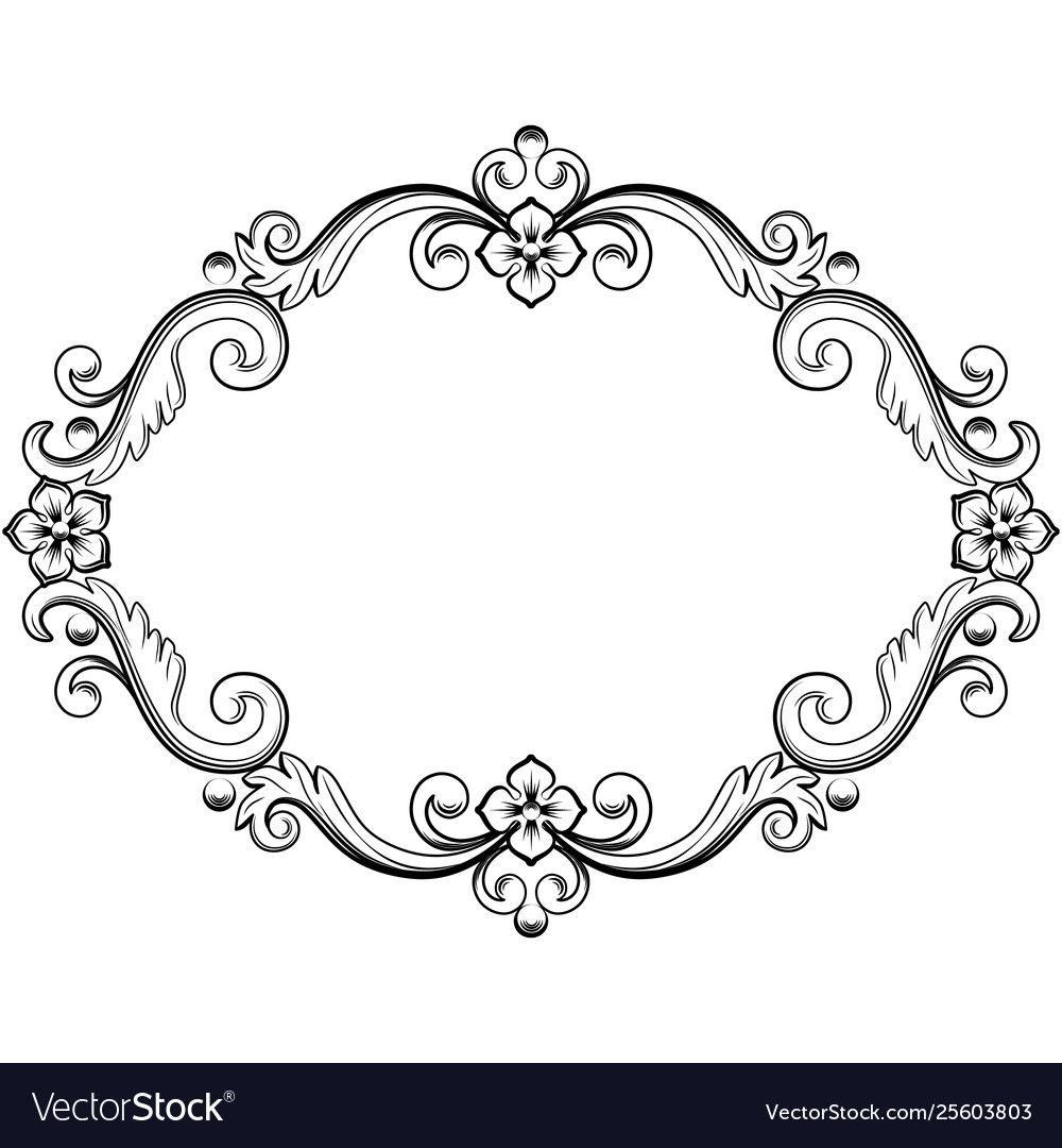 Ornamental Vintage Frame In Black Color Vector Illustration Isolated On White Background Can Use Fo In 2020 Vintage Frames Vintage Frames Vector Vector Illustration