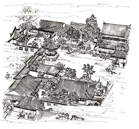 garden drawing #gardencare View of Garden of Master of Nets