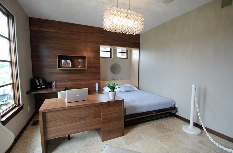 Contemporary guest bedroom idea with a dedicated workstation. Contemporary guest bedroom idea with a dedicated workstation   Decor